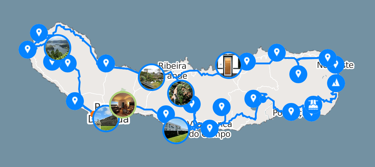 Map Road trip Açores