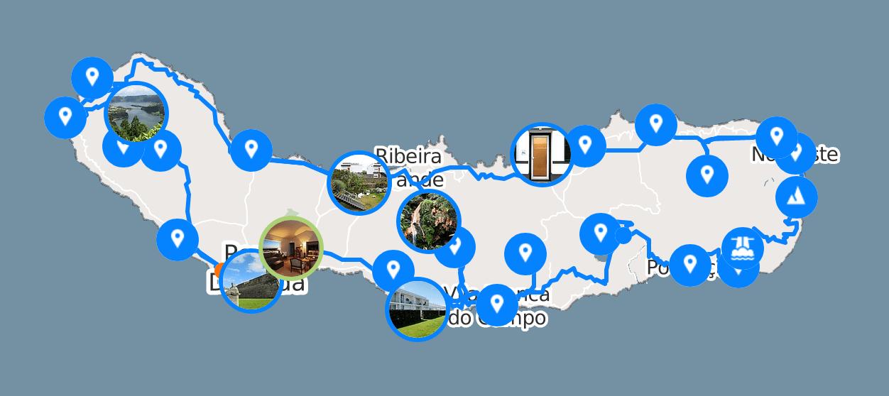 Map Road trip Açores